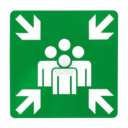 Photo pour Vert signe de point de rassemblement sur fond blanc - image libre de droit