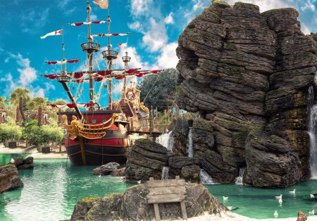 Pirate ship in the backwater of tropical pirate is...