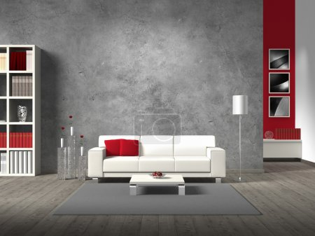 Photo for Modern fictitious living room with white sofa and copy space for your own image/photos on the concrete wall behind the sofa - Royalty Free Image