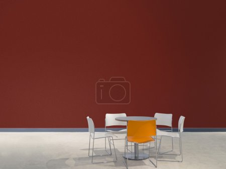 Furniture and red wall