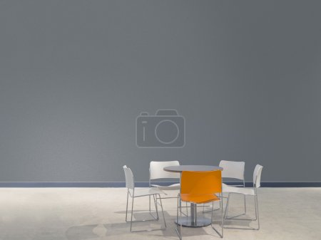 Furniture and gray wall