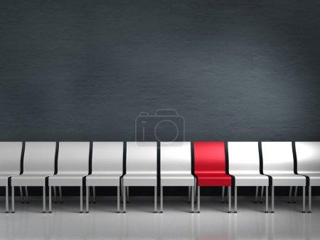 Foto de Renderizado conceptual que muestra una fila de sillas con una diferente - Imagen libre de derechos