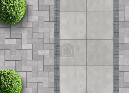 Photo for Exterior detail in aerial view with permeable paving - Royalty Free Image