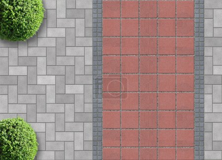 Exterior detail in aerial view with permeable pavi...