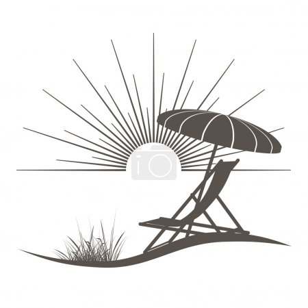 Photo for Beach chair and sunshade illustration with a beautiful view to the sea - Royalty Free Image