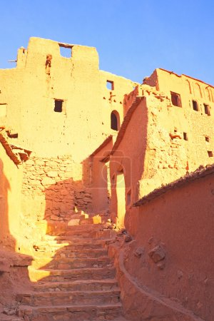 Photo for Ait Benhaddou,fortified city, kasbah or ksar, along the former caravan route between Sahara and Marrakesh in present day Morocco. It is situated in Souss Massa Draa on a hill along the Ounila River. - Royalty Free Image