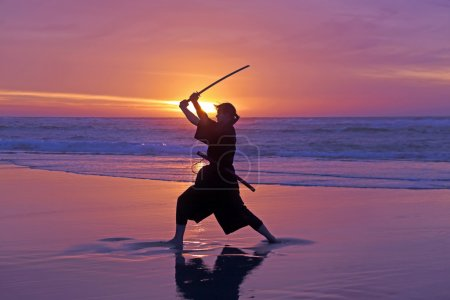 Photo for Young samurai woman with Japanese sword(Katana) at sunset on the beach - Royalty Free Image