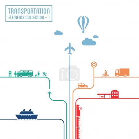 Illustration for Transportation infographics - graphic elements collection, all means of transport - Royalty Free Image