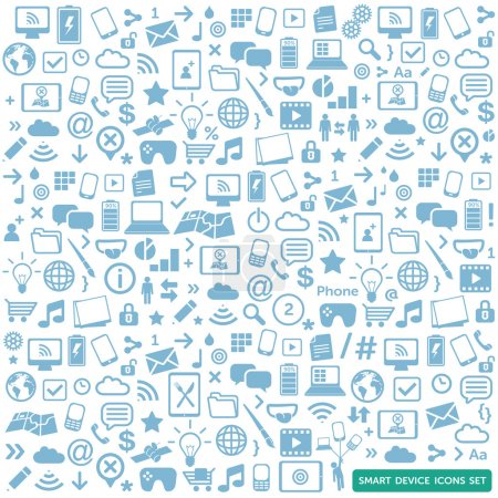 Illustration for Smart device icons set - modern, new technology, multimedia, smart devices elements - Royalty Free Image