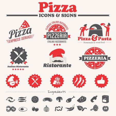 Illustration pour Icônes de pizza, étiquettes, symboles & collection d'éléments vectoriels - image libre de droit
