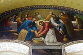 Interior of the Barbara Church in Pochaev Lavra, the painting on