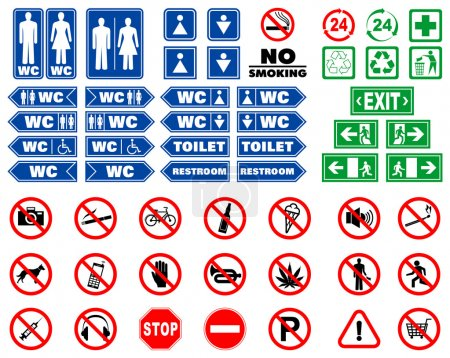 Set of signs and warning notices