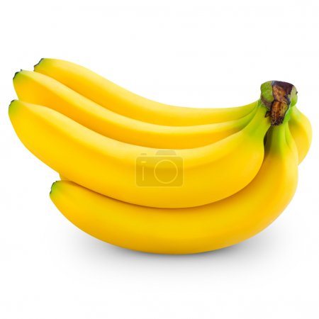 Photo for Bunch of bananas isolated on white background. Clipping Pat - Royalty Free Image