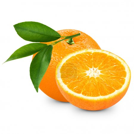 Photo for Ripe orange isolated on white background. Clipping Pat - Royalty Free Image