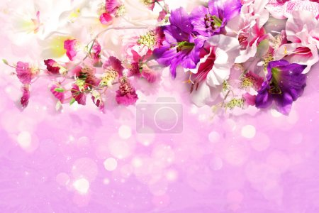 Branch of flowers on a shiny lilac background