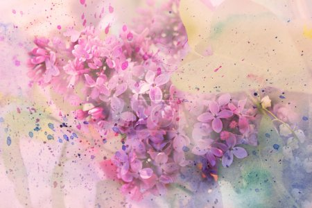 Photo for Twig of lilac flowers and watercolor splashes - Royalty Free Image