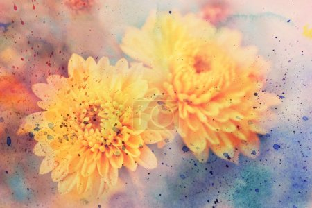 Scenic artwork with yellow asters and watercolor