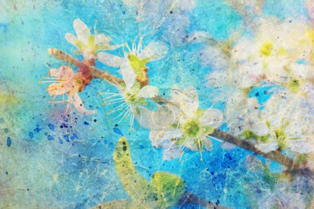 Photo for Watercolor splashes and blooming spring twig with white flowers - Royalty Free Image