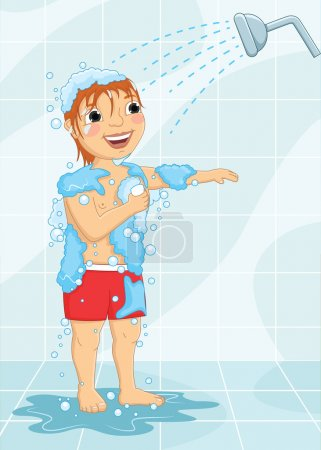 Young Boy Having Shower Vector Illustration