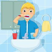 Malý chlapec kartáčování zubů vektorové ilustrace