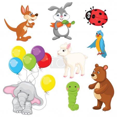 Illustration for Animals Vector Illustration Set - Royalty Free Image