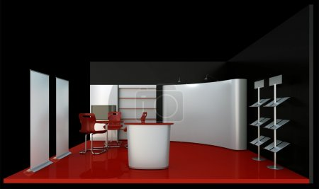 Photo for Render dark booth space. - Royalty Free Image