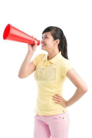 Girl with bullhorn