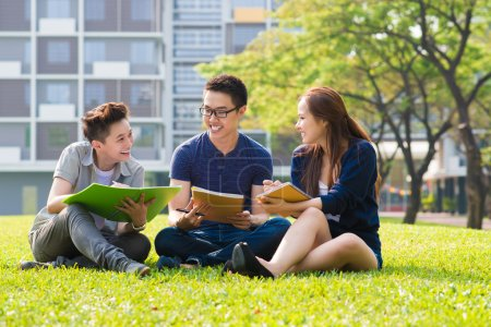 Photo for Group of students sharing with the ideas on the campus lawn - Royalty Free Image