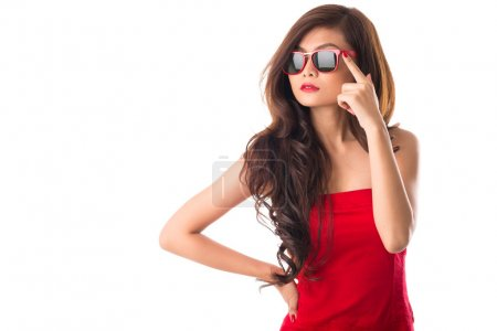 Photo for Isolated image of a gorgeous lady in red dress on white - Royalty Free Image