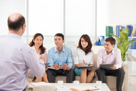Photo for Business team cooperated for the meeting with their boss at the office - Royalty Free Image
