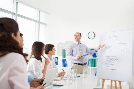 Photo pour PDG expliquant à ses partenaires le processus de marketing de l'entreprise - image libre de droit
