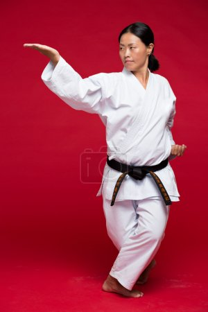 Photo for Martial arts woman in kimono practicing karate - Royalty Free Image