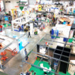 Trade show background, intentionally blurred post ...