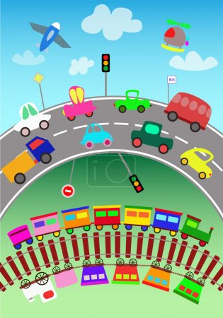 Trains, various vehicles and toy cars for children