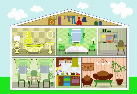 House in a cut, vector illustration