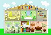 Dům v řezu, vektorové ilustrace