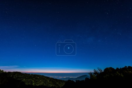 Photo for Starry in blue sky night time scene with milky way high iso - Royalty Free Image