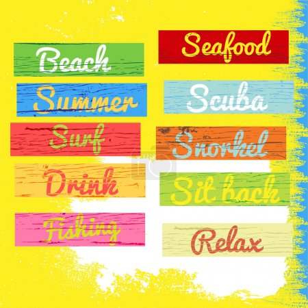 Summer time colorful wood paint banner