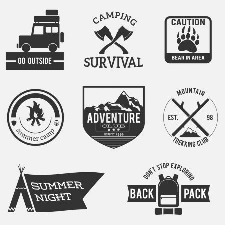 Illustration for Camping badges,premium adventure set,vintage design - Royalty Free Image