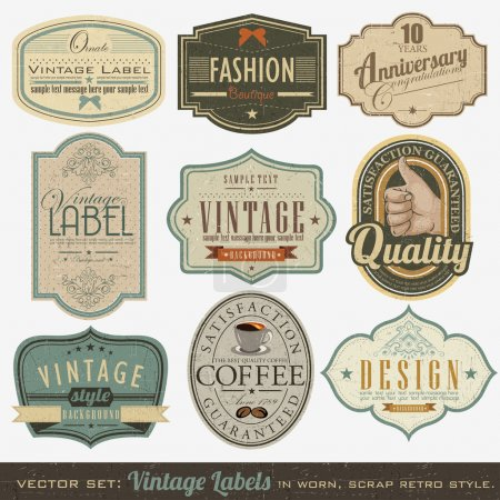 Illustration for Retro vintage labels collection - Royalty Free Image