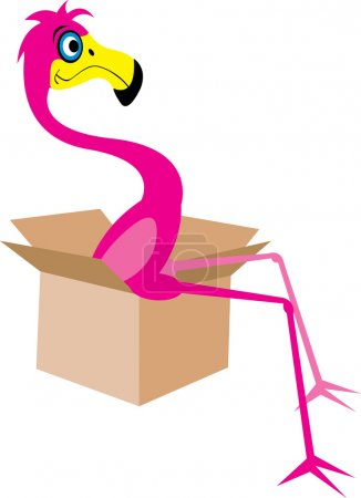 Illustration for Flamingo sitting in a moving box - Royalty Free Image