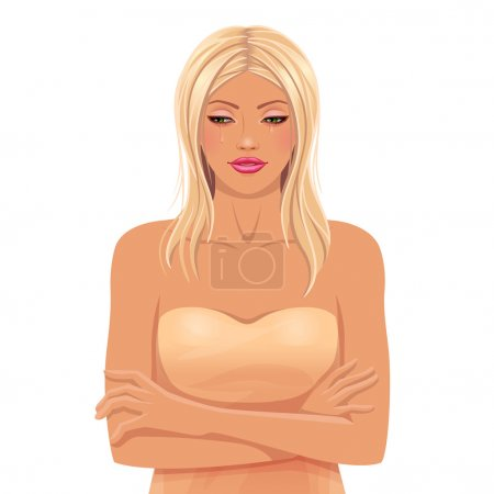 Illustration for Young white woman with blond hair crying - Royalty Free Image