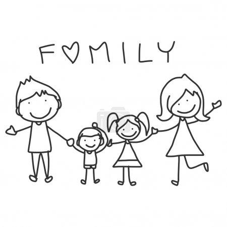 Illustration pour Dessin à la main dessin animé heureux famille vie heureuse - image libre de droit