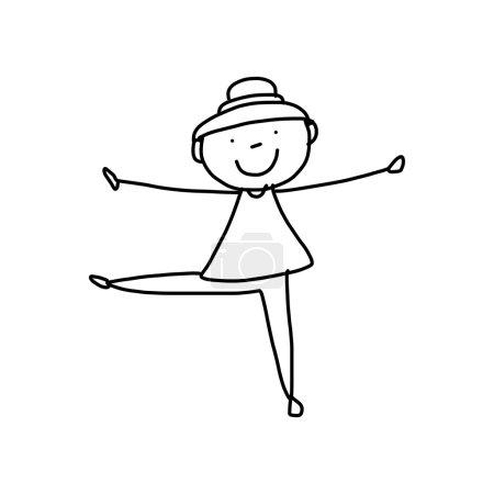 Cartoon hand drawing woman practicing yoga
