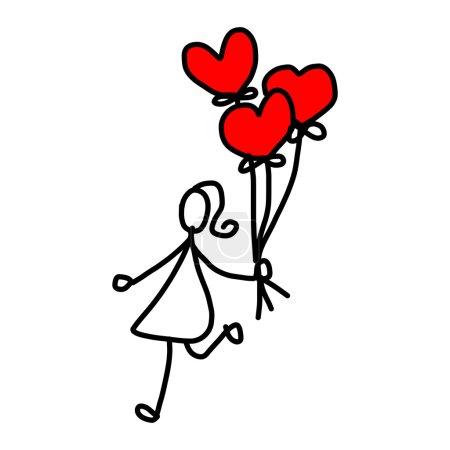 Illustration pour Personnage de dessin animé amour dessinés à la main - image libre de droit