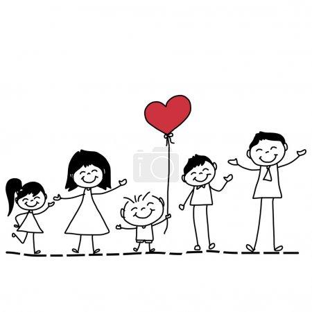 Illustration pour Dessin à la main dessin animé de la famille heureuse avec coeur rouge isolé sur fond blanc - image libre de droit