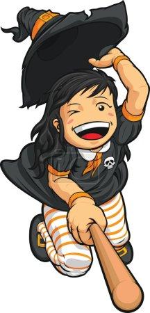 Cartoon of Cheerful Halloween Witch