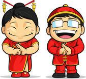 Cartoon of Chinese Boy & Girl