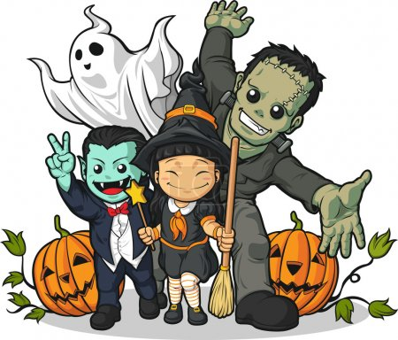 Illustration for A vector image of usual halloween characters (witch, vampire, frankenstein, ghost & pumpkin) greeting halloween. - Royalty Free Image