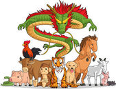 A vector set of all 12 chinese zodiac animals Drawn in cartoon style this vector is very good for design that needs animal or chinese zodiac element in cute funny colorful and cheerful style